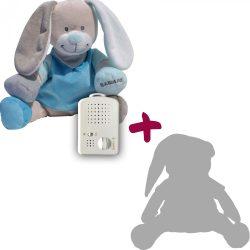 Зайчик Doodoo синего цвета + сменная мягкая игрушка